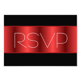 Red Metallic black RSVP Card