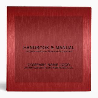 Red Metallic Brushed Aluminum Look Binder