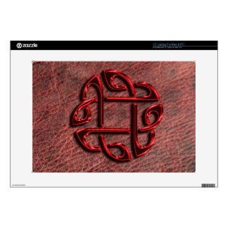 """Red metallic celtic knot on genuine leather 15"""" laptop decal"""