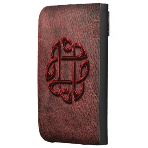 Red metallic celtic knot on genuine leather kindle covers
