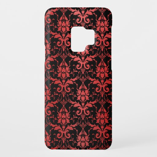 Red Metallic Damask on Black Case-Mate Samsung Galaxy S9 Case