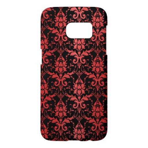 Red Metallic Damask on Black Samsung Galaxy S7 Case