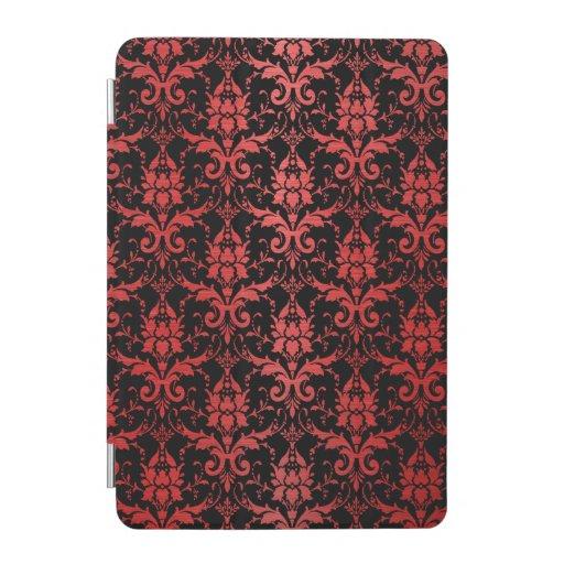 Red Metallic Damask on Black iPad Mini Cover