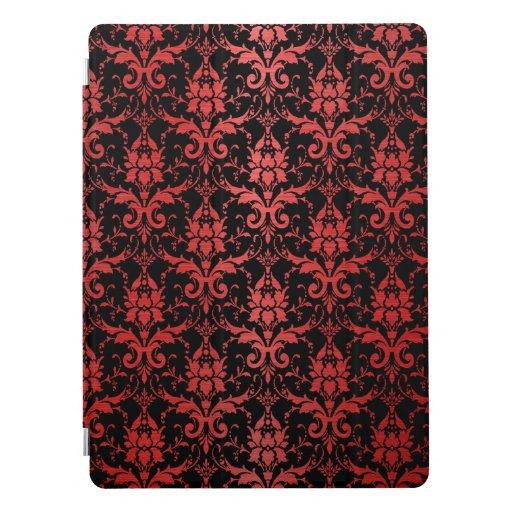 Red Metallic Damask on Black iPad Pro Cover