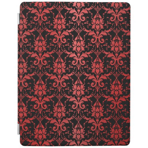 Red Metallic Damask on Black iPad Smart Cover