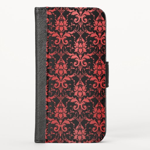 Red Metallic Damask on Black iPhone X Wallet Case