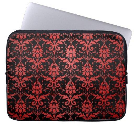 Red Metallic Damask on Black Laptop Sleeve