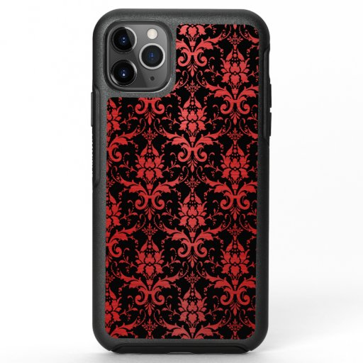 Red Metallic Damask on Black OtterBox Symmetry iPhone 11 Pro Max Case