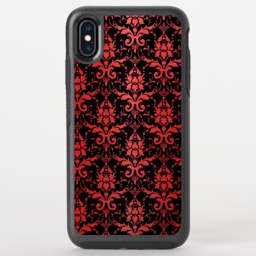Red Metallic Damask on Black OtterBox Symmetry iPhone XS Max Case