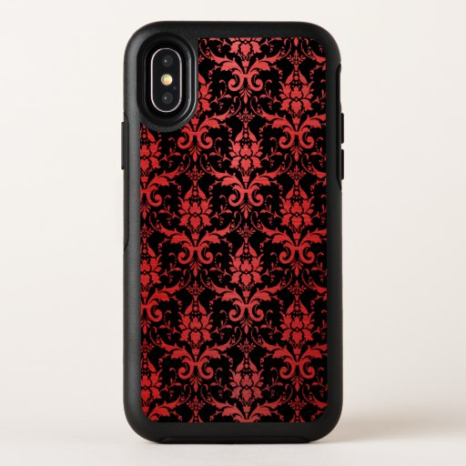Red Metallic Damask on Black OtterBox Symmetry iPhone X Case