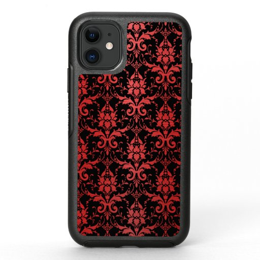 Red Metallic Damask on Black OtterBox Symmetry iPhone 11 Case