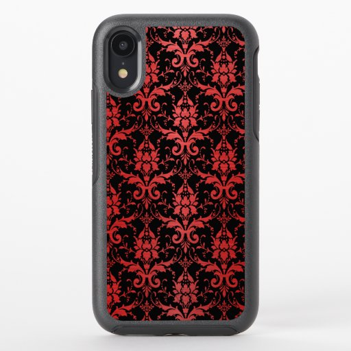 Red Metallic Damask on Black OtterBox Symmetry iPhone XR Case