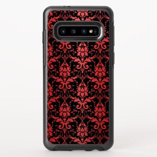 Red Metallic Damask on Black OtterBox Symmetry Samsung Galaxy S10 Case