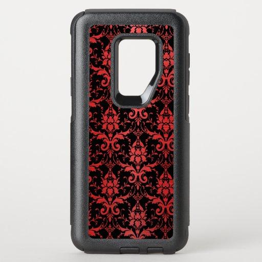 Red Metallic Damask on Black OtterBox Commuter Samsung Galaxy S9  Case