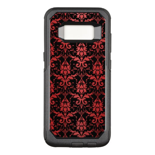 Red Metallic Damask on Black OtterBox Commuter Samsung Galaxy S8 Case