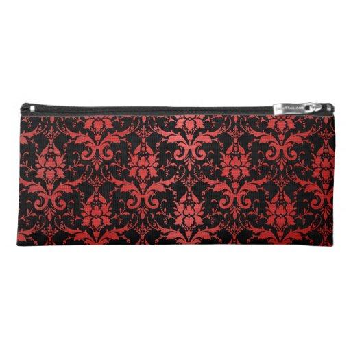 Red Metallic Damask on Black Pencil Case