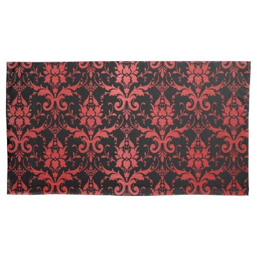 Red Metallic Damask on Black Pillow Case