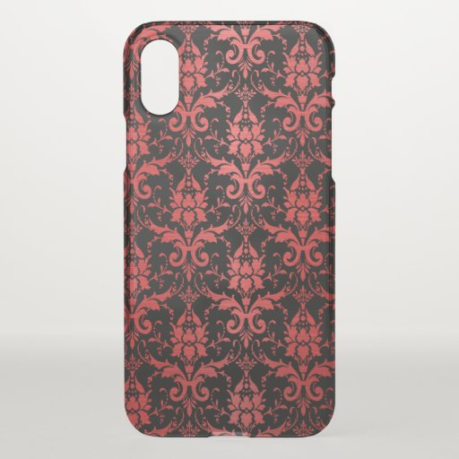 Red Metallic Damask on Black iPhone XS Case
