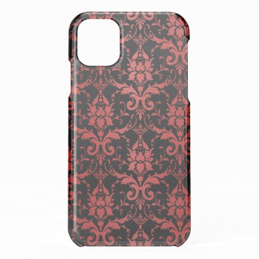 Red Metallic Damask on Black iPhone 11 Case