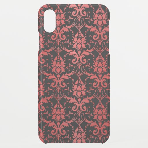 Red Metallic Damask on Black iPhone XS Max Case