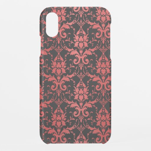Red Metallic Damask on Black iPhone XR Case