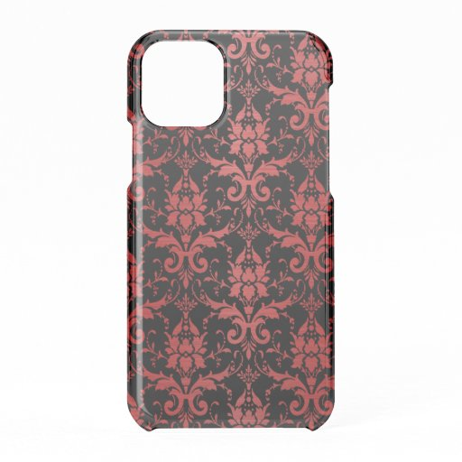 Red Metallic Damask on Black iPhone 11 Pro Case