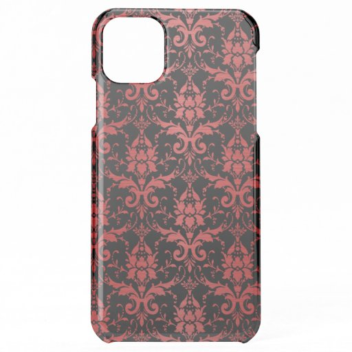 Red Metallic Damask on Black iPhone 11 Pro Max Case