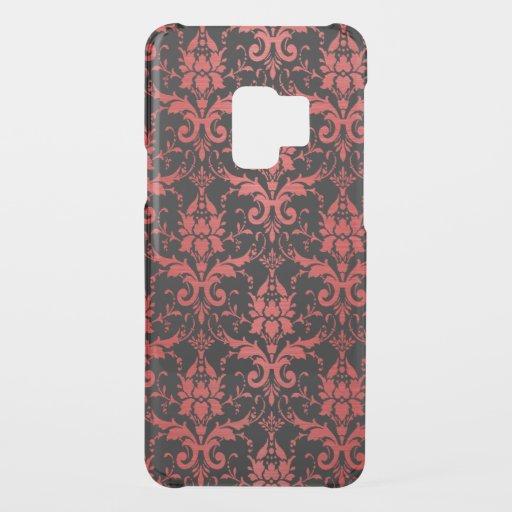 Red Metallic Damask on Black Uncommon Samsung Galaxy S9 Case