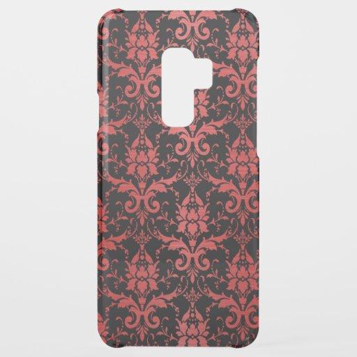 Red Metallic Damask on Black Uncommon Samsung Galaxy S9 Plus Case
