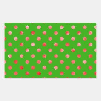 Red Metallic Faux Foil Polka Dot Green Background Rectangular Sticker