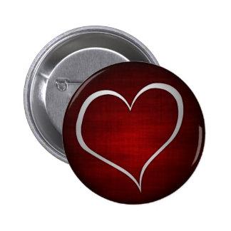 Red metallic heart button