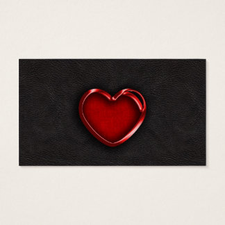 Red Metallic Heart on Black Leather Business Card
