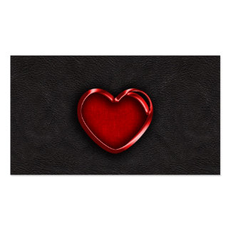 Red Metallic Heart on Black Leather Business Cards