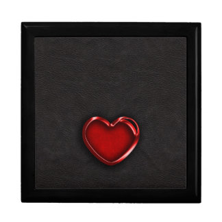 Red Metallic Heart on Black Leather Jewelry Box