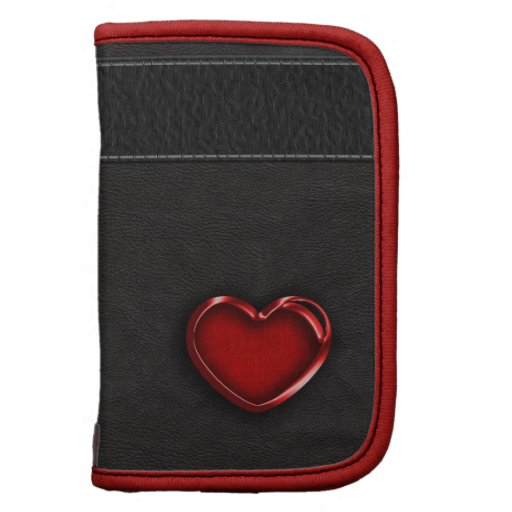 Red Metallic Heart on Black Leather Planners