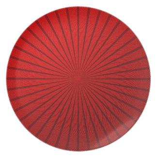 Red Metallic Illusion Melamine Plate