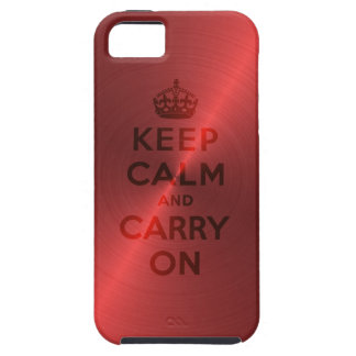 Red Metallic Keep Calm And Carry On iPhone SE/5/5s Case