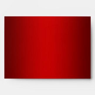 Red Metallic-Look Red White Striped Envelope Sobres
