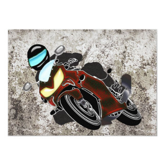 Red Metallic Motorcycle Racer Card