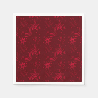 Red Metallic Stars-PAPER PARTY NAPKINS