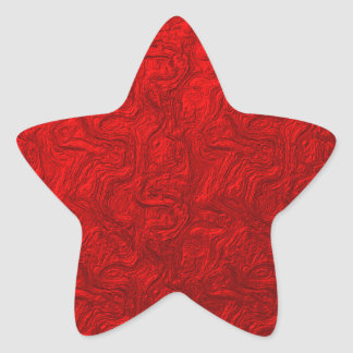 Red Metallic Swirl Star Sticker