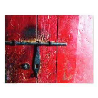 """Red Mexican Door 4.25"""" X 5.5"""" Invitation Card"""