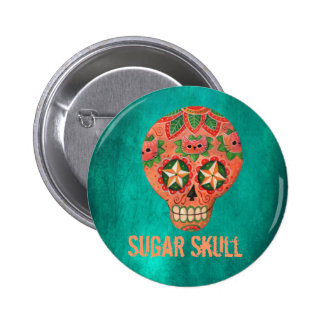 Red Mexican Sugar Skull 2 Inch Round Button