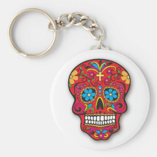 Red Mexican Sugar Skull Day of the Dead Basic Round Button Keychain