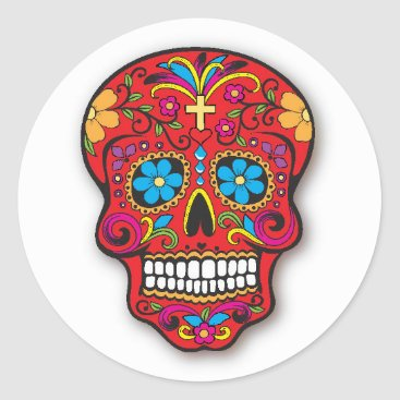 Totes_Adorbs Red Mexican Sugar Skull Day of the Dead Classic Round Sticker