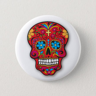Red Mexican Sugar Skull Day of the Dead Pinback Button