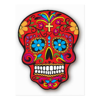 Red Mexican Sugar Skull Day of the Dead Postcard