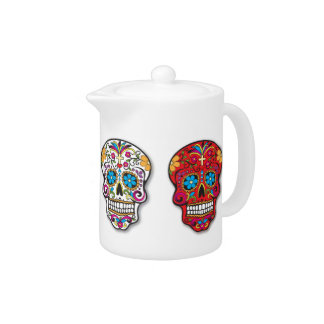 Red Mexican Sugar Skull Day of the Dead Teapot