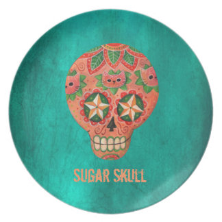 Red Mexican Sugar Skull Plate