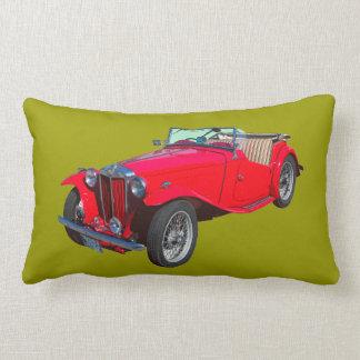 Red MG Convertible Antique Sports Car Lumbar Pillow